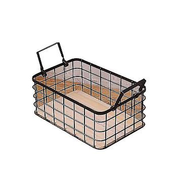 Household Stackable Metal Wire Storage Organizer Bin Basket With Handles(Black)