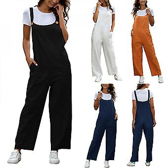 Women Playsuit Romper Jumpsuit Cotton Dungarees Ladies Overalls Baggy Casual