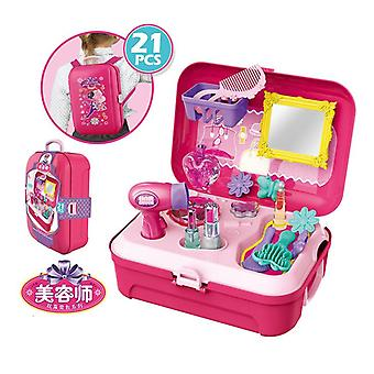 Preschooler girl simulation beautician tool backpack box pretend gift toddler kid stacking game toys, educational activities