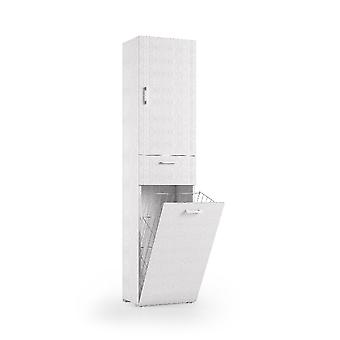 Trio multifunktionsskab, hvid farve i melaminpartikelplader, W45xD32xH195 cm