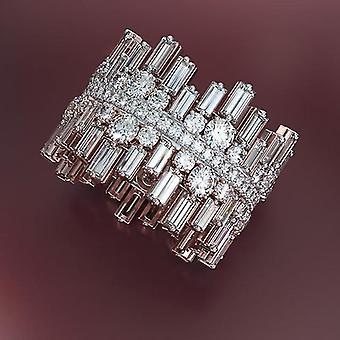 Micro Pavimentato Round Square Cubic - Gioielli anello di fidanzamento nuziale