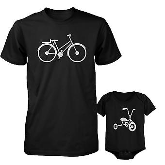 Fiets Daddy Shirt en driewieler Baby Romper bijpassende Outfit Father's Day Gift