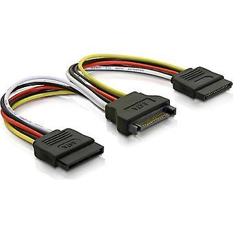 DELTACO Y adaptador de poder SATA de 15 pines, 2 unidades de disco duro, 1
