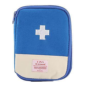 Botiquín de primeros auxilios Bolsa médica de emergencia Caja de píldoras de viaje Caja de almacenamiento al aire libre (18 * 13 * 1.5 cm) (azul)