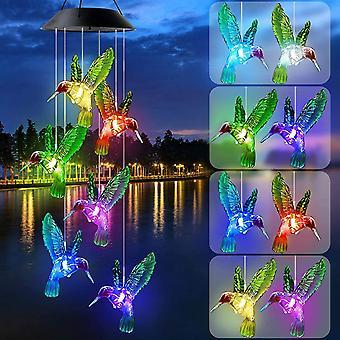 Carillon solaire led, carillons de vent extérieurs changement de couleur Colibri Lampe Lumières pour la maison, la fête, la cour, la décoration de jardin