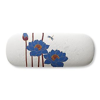 Bleu Lotus Lotus Fleur Libellule Lunettes Case Lunettes Hard Shell Rangement Lunettes Boîte
