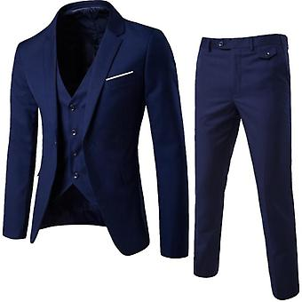 Homme 3 Pièces Slim Fit Costume Ensemble, Veste solide Pantalon vestimentaire avec cravate