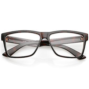Klaxon classique monture bras large lentille transparente Rectangle lunettes 57mm