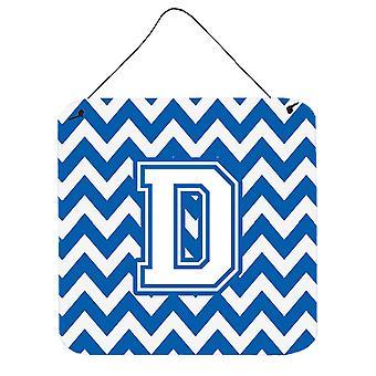 Buchstabe D Chevron blau-weißen Wand oder Tür hängen Drucke