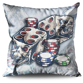 Skull Roulette Game Linen Cushion 30cm x 30cm | Wellcoda