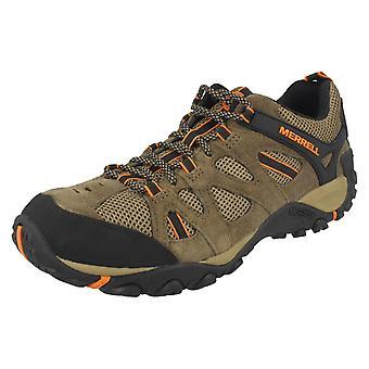 Mens Merrell Wandern Schuhe Yokota Seilwinde Vent J343718C - Cantine/B. Orange Leder - UK Größe 12,5 M - EU Größe 48 - Größe US 13