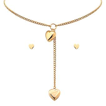 Ladies 18K Gold Plated Stainless Steel Heart Earring And Choker Set