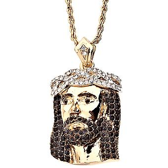Iced out religion bling pendentif Jésus - ouvre les yeux or