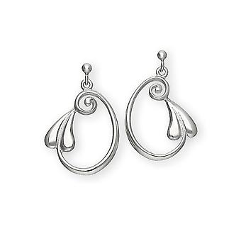 Sterling Silver Traditional Art Nouveau 'New Art' Design Pair of Earrings - E257