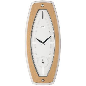 Quartz wall clock quartz wooden cabinet beech veneered mineral glass