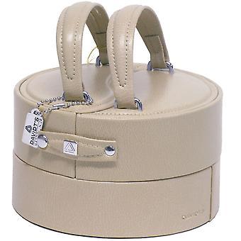 Gioielli casella gioielli casella gioielli scatola beige tondo manico 13 x 15 cm