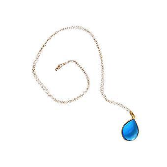 Blautopaz Topázio Topázio Azul colar dourado cadeia de pedra preciosa azul