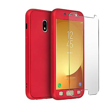 Back and front silicone case + Tempered glass film for Galaxy J7 2017 - Red