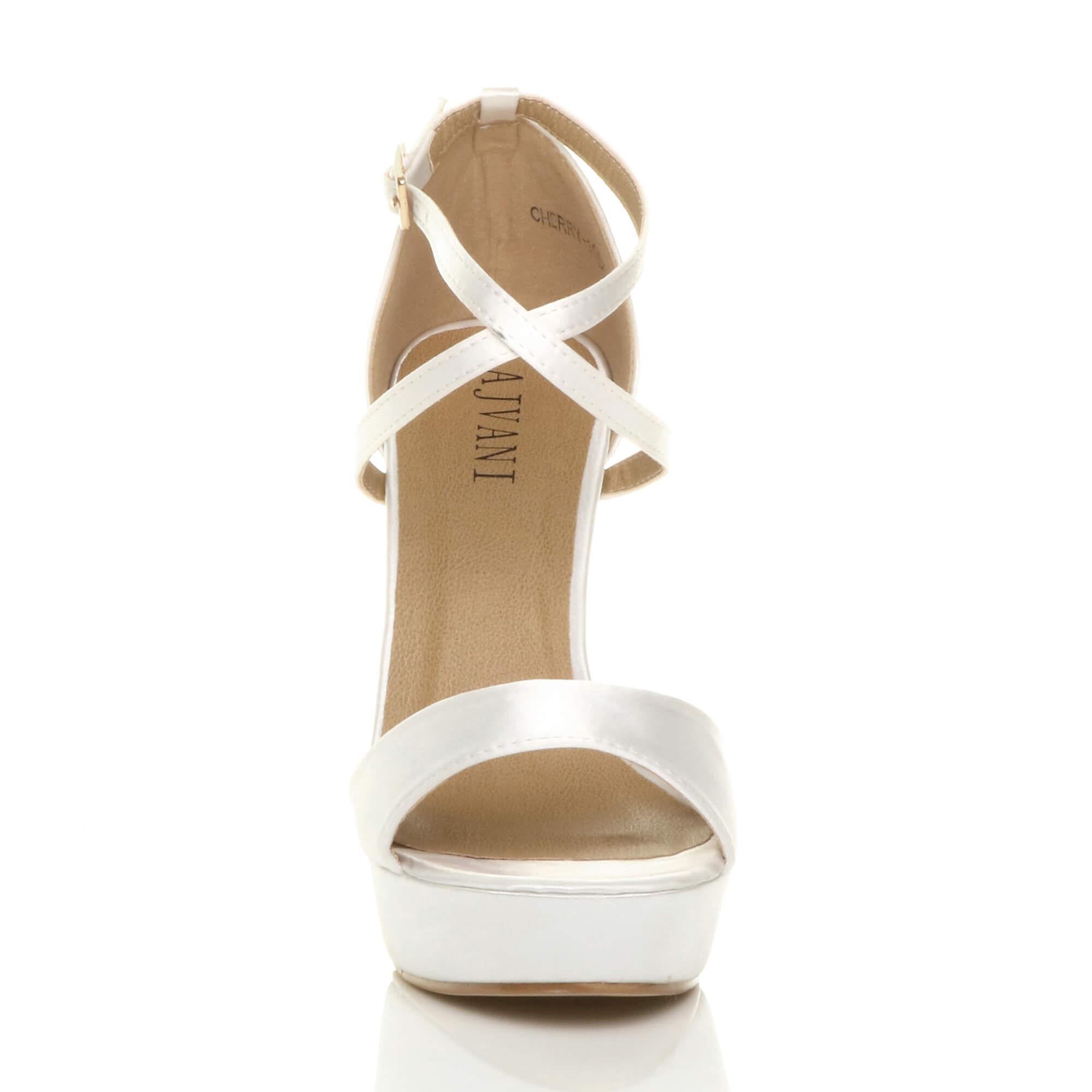 Ajvani womens hoge hak oversteken strappy Bruidssuite bruiloft bruidsmeisje avond platform sandalen gluren teen schoenen - Gratis verzending ZMFAQ3
