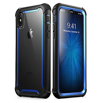 i-Blason iPhone XS Case, iPhone X Case Ares Full-Body Rugged Clear Bumper Cover with Built-in Screen Protector, Blue