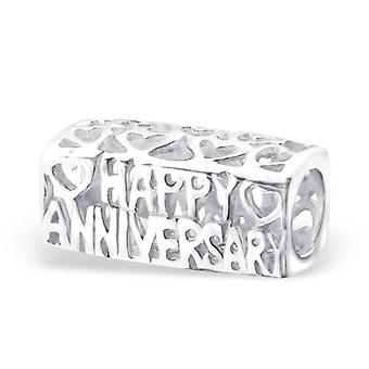 Happy Anniversary - 925 Sterling Silver Plain Beads - W22699x