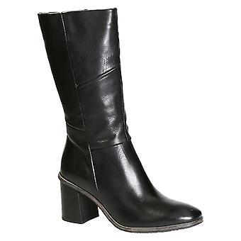 Altura do joelho botas de salto médio de feminino couro preto
