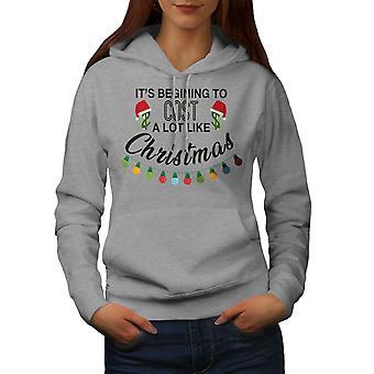 Noel Tatili Kadınlar GreyHoodie   Wellcoda