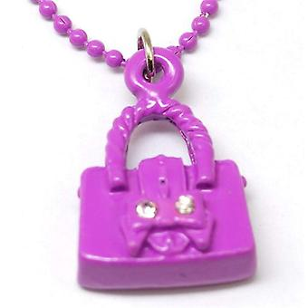 "The Olivia Collection Kids Enamel Pendant & 16"" Ball Chain Purple Hand Bag"