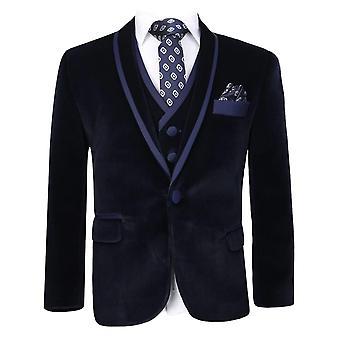 Boys Navy Velvet Tuxedo Suit Sets