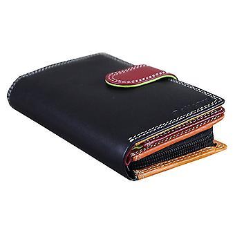 Rallegra Small RFID Purse - Black/Orange/Red