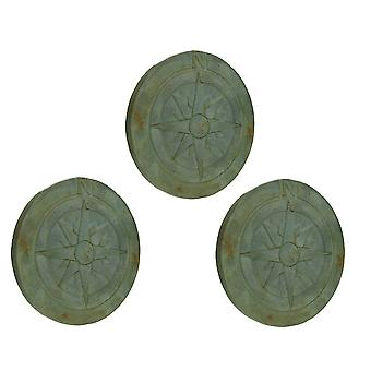 Compass Rose Verdigris Finish 10 Inch Round Cement Step Stone Set of 3