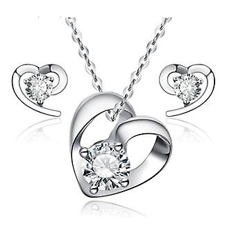 925 Sterling Silver Heart Stud Earrings And Necklace Set