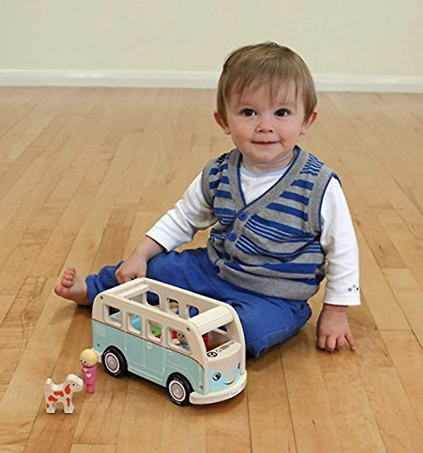 Indigo Jamm Colin Camper Van, Retro Classic Wooden Toy Vehicle with Removable Roof and Passengers