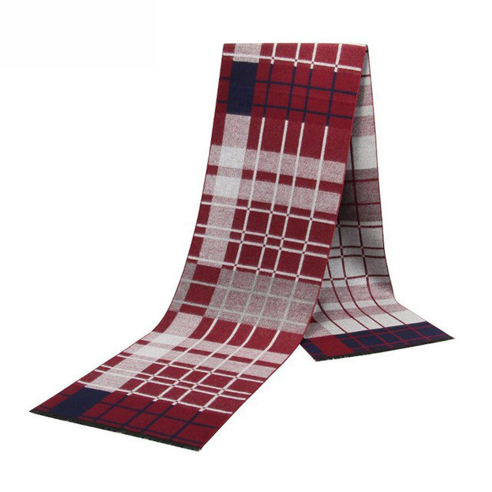 Red white & blue check pattern bamboo long men's scarf