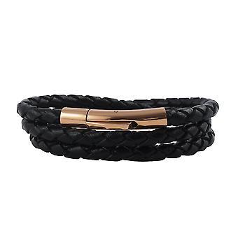 Lederkette Lederband 6 mm Herren Halskette Schwarz 17-100 cm lang mit Hebeldruck Verschluss Rose Gold geflochten