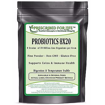 Probiotics - 8 Strains 20 Billion per gram - Non-GMO Digestion & Temperature Stable ING: Organic Powder