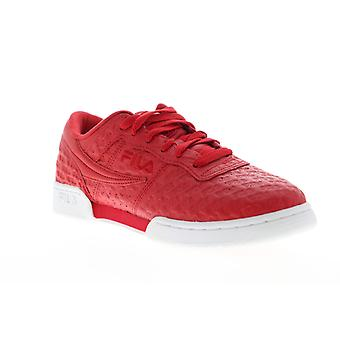 Fila Original Fitness Small Logos Mens Red Leather Casual Low Top Sneakers Shoes