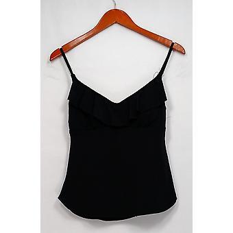Stylus Swimsuit Adjustable Straps Ruffled V Neck Top Black