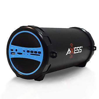 轴便携式蓝牙高保真瓶扬声器,带 AUX 输入 - 蓝色