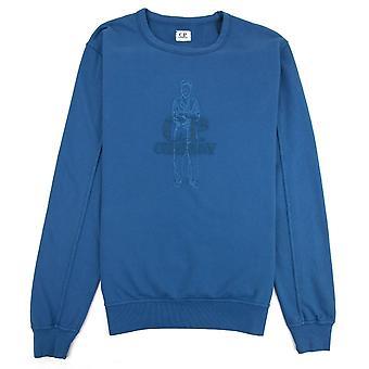 CP bedrijf lichtgewicht geborduurd logo Sweatshirt blauw 849