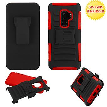 ASMYNA Black/Red Advanced Armor Stand Protector Cover w/ Holster  for Galaxy S9 Plus