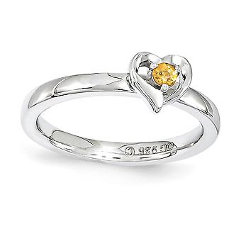 2.25mm 925 Sterling Silver Polished Prong set Rhodium plated Stackable Expressions Citrine Love Heart Ring Jewely Gifts