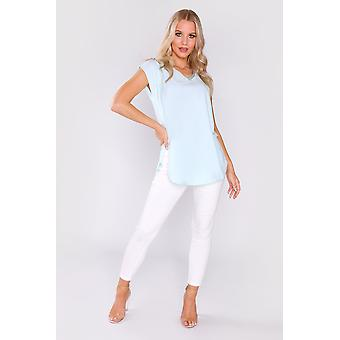 Daphine contrast trim embroidered casual short sleeve top in blue