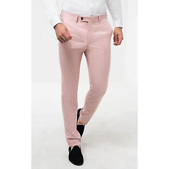 Avail London Mens Light Pink Suit Trousers Skinny Fit