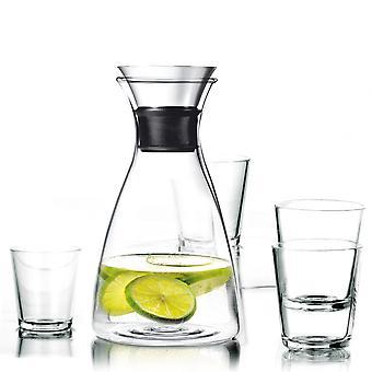 Eva Solo Karaffe 1,0 Liter tropffrei mit 4 Gläsern 0,25 Liter
