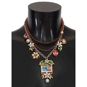 Dolce & Gabbana Gold Floral Crystal Beaded SICILY Charms Necklace -- SMY1415280