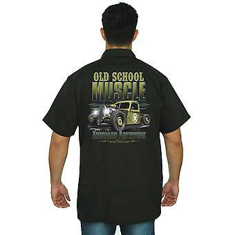 Trabalho mecânico camisa velha escola músculo americano Rattitude do homens
