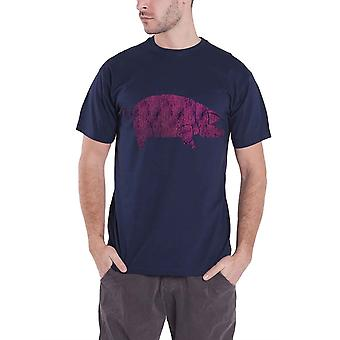 Pink Floyd T Shirt Mens Blue Animals Pig Distressed logo new Official