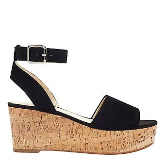Marc Fisher Womens Rillia couro aberto Toe formal tornozelo cinta sandálias