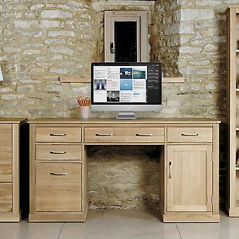 Mobel Oak Twin Pedestal Computer Desk Brown - Baumhaus
